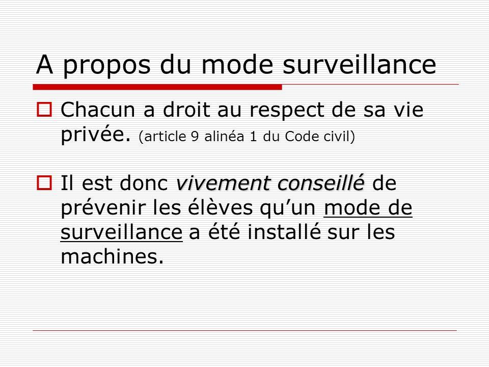 A propos du mode surveillance