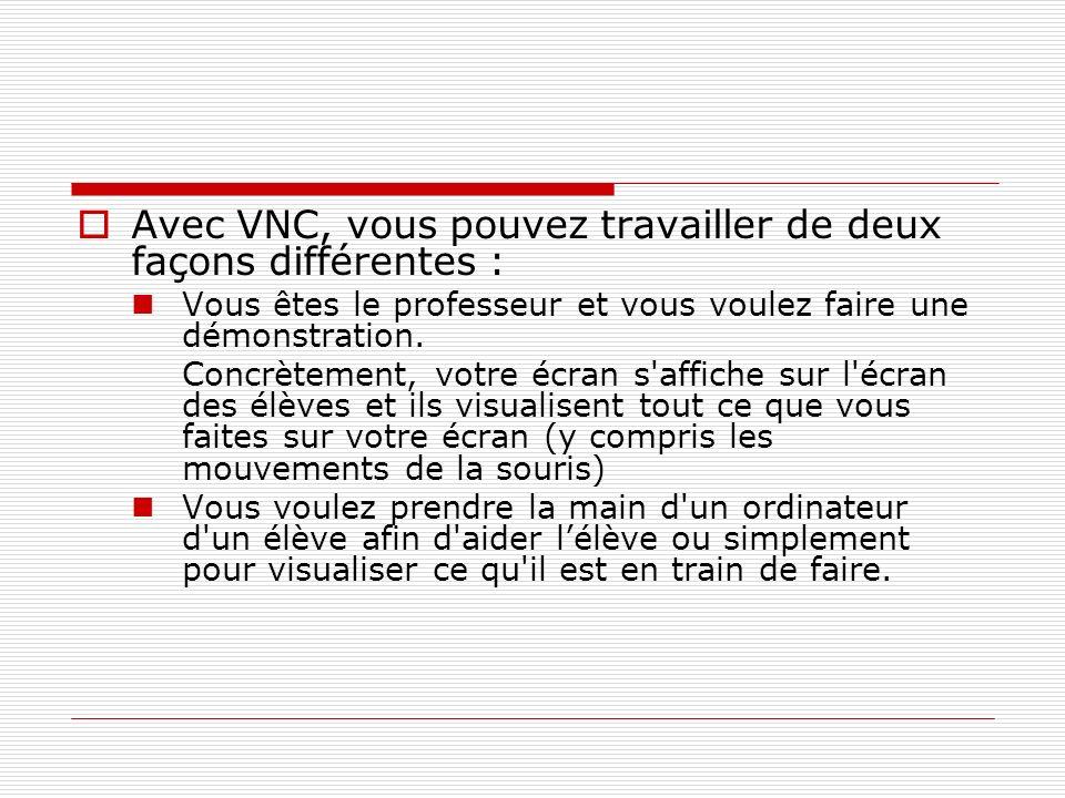 Avec VNC, vous pouvez travailler de deux façons différentes :