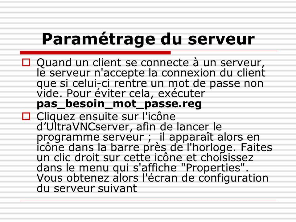 Paramétrage du serveur