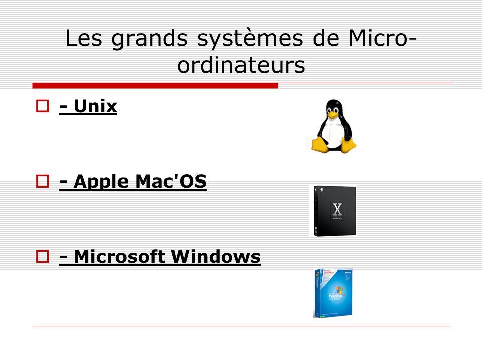 Les grands systèmes de Micro-ordinateurs