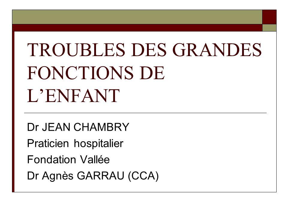 TROUBLES DES GRANDES FONCTIONS DE L'ENFANT