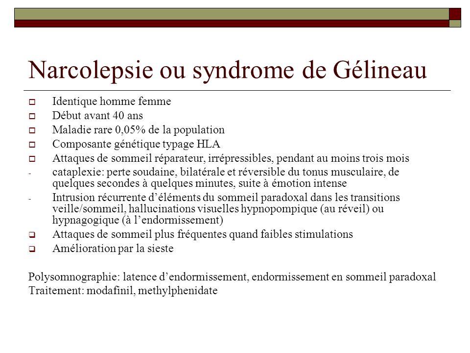 Narcolepsie ou syndrome de Gélineau