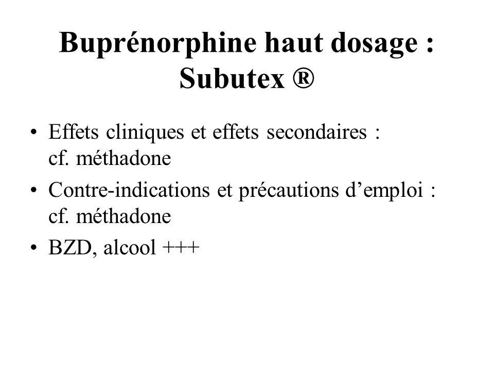 Buprénorphine haut dosage : Subutex ®
