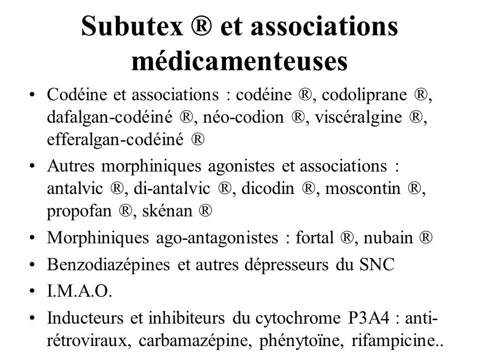 Subutex ® et associations médicamenteuses