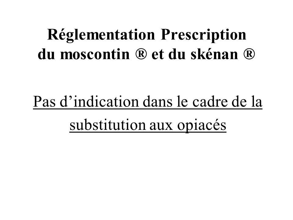 Réglementation Prescription du moscontin ® et du skénan ®