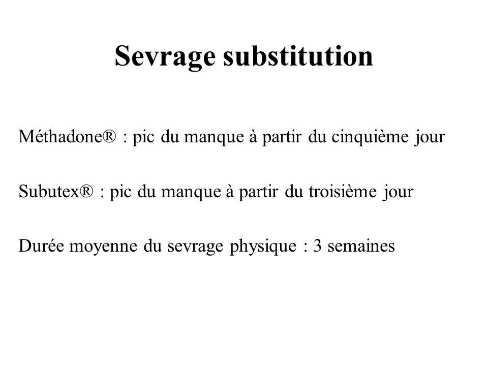 Sevrage substitution Méthadone® : pic du manque à partir du cinquième jour. Subutex® : pic du manque à partir du troisième jour.