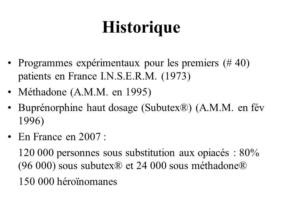HistoriqueProgrammes expérimentaux pour les premiers (# 40) patients en France I.N.S.E.R.M. (1973) Méthadone (A.M.M. en 1995)