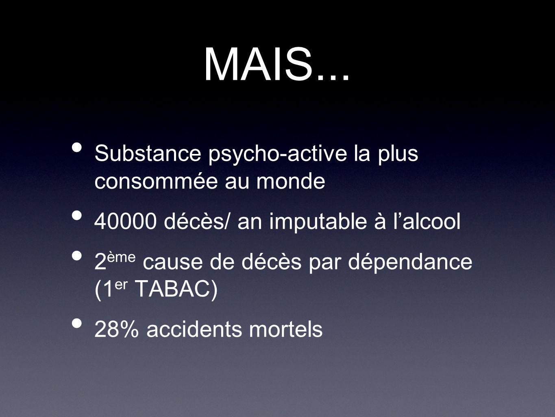 MAIS... Substance psycho-active la plus consommée au monde