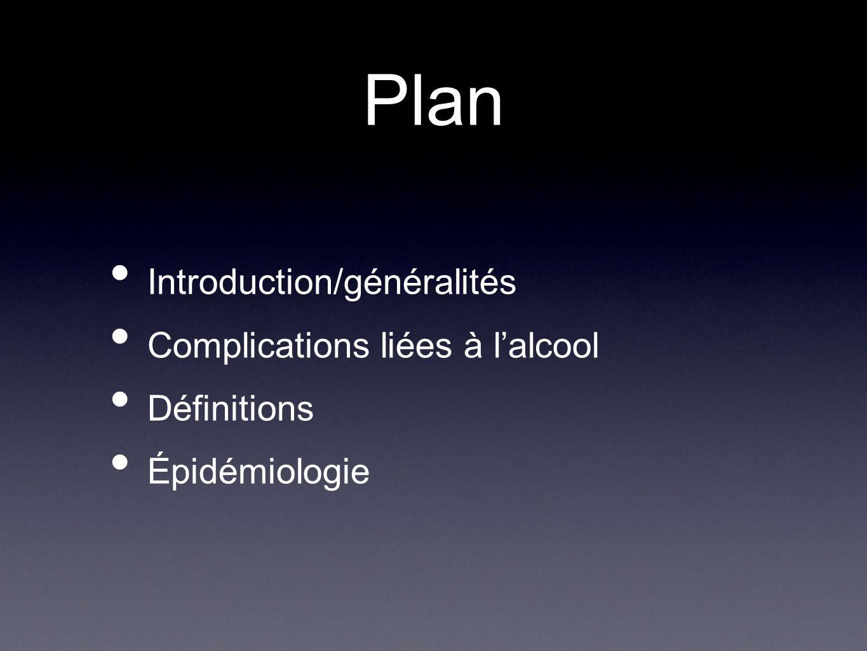 Plan Introduction/généralités Complications liées à l'alcool