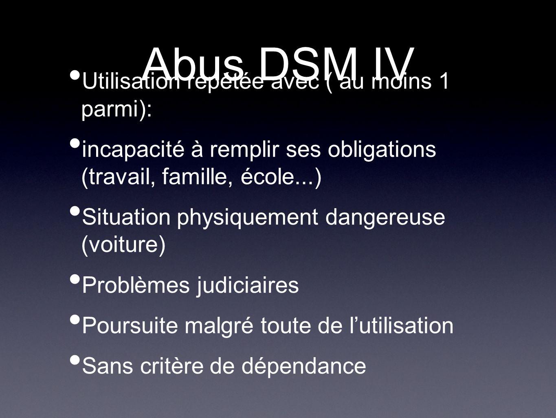 Abus DSM IV Utilisation répétée avec ( au moins 1 parmi):