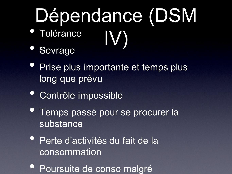 Dépendance (DSM IV) Tolérance Sevrage