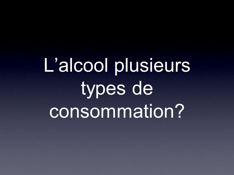 L'alcool plusieurs types de consommation