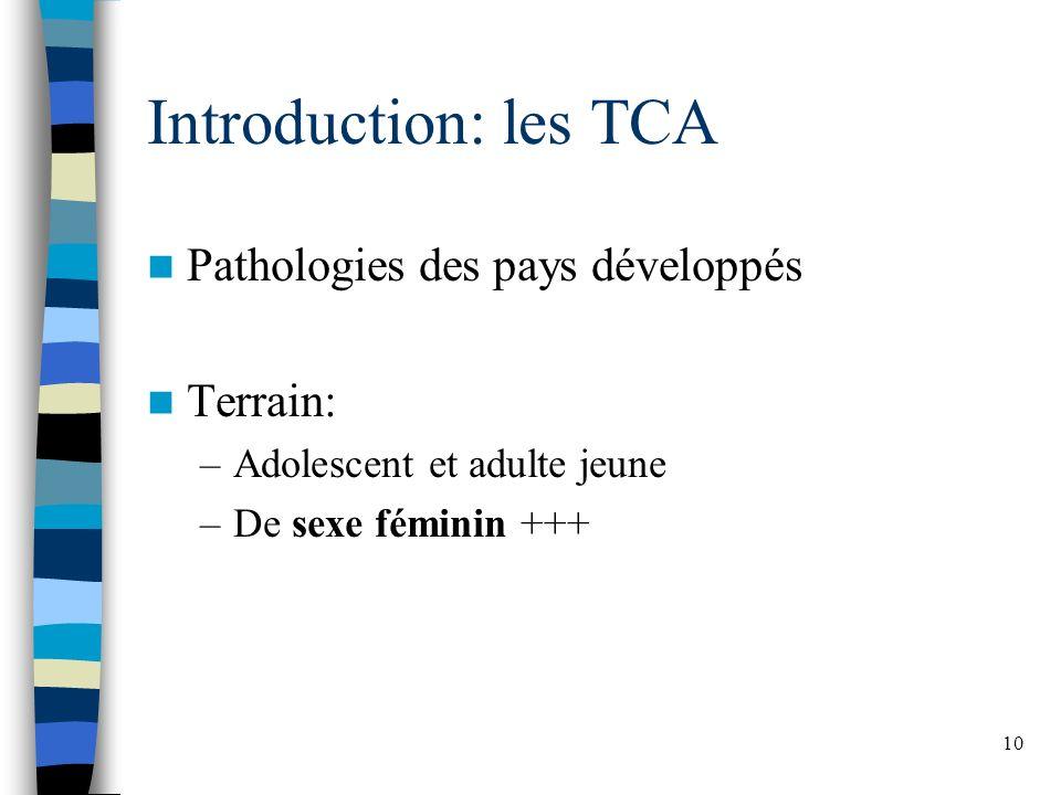Introduction: les TCA Pathologies des pays développés Terrain: