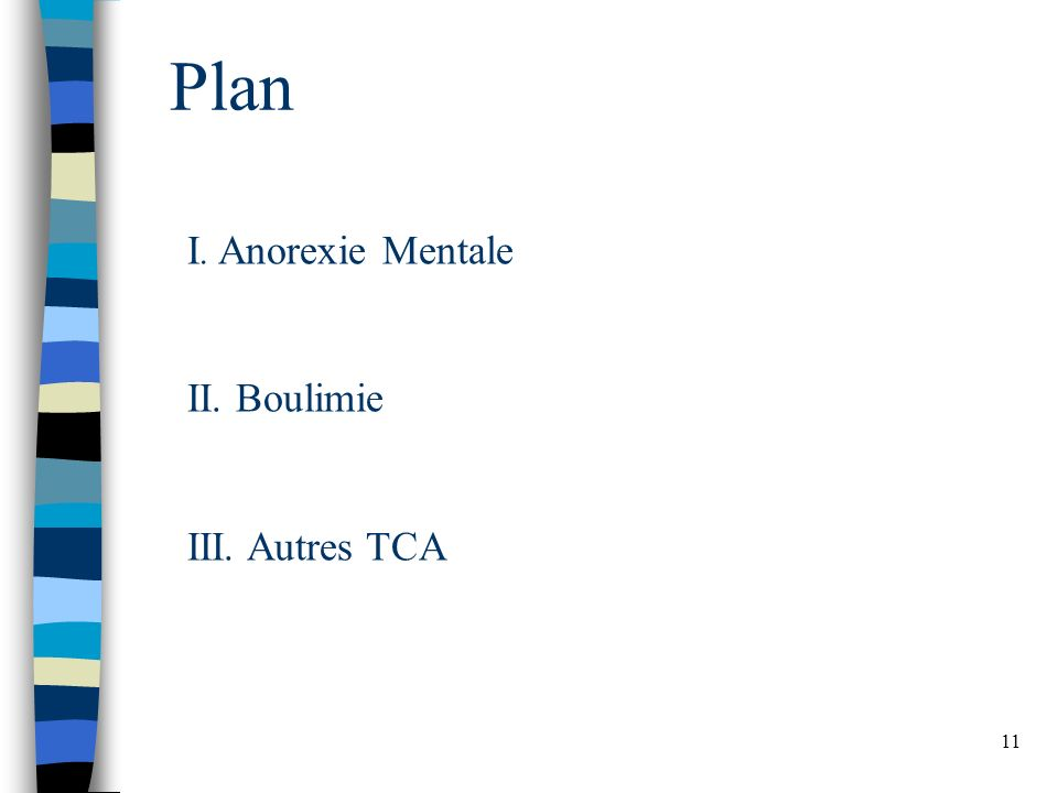 Plan I. Anorexie Mentale II. Boulimie III. Autres TCA