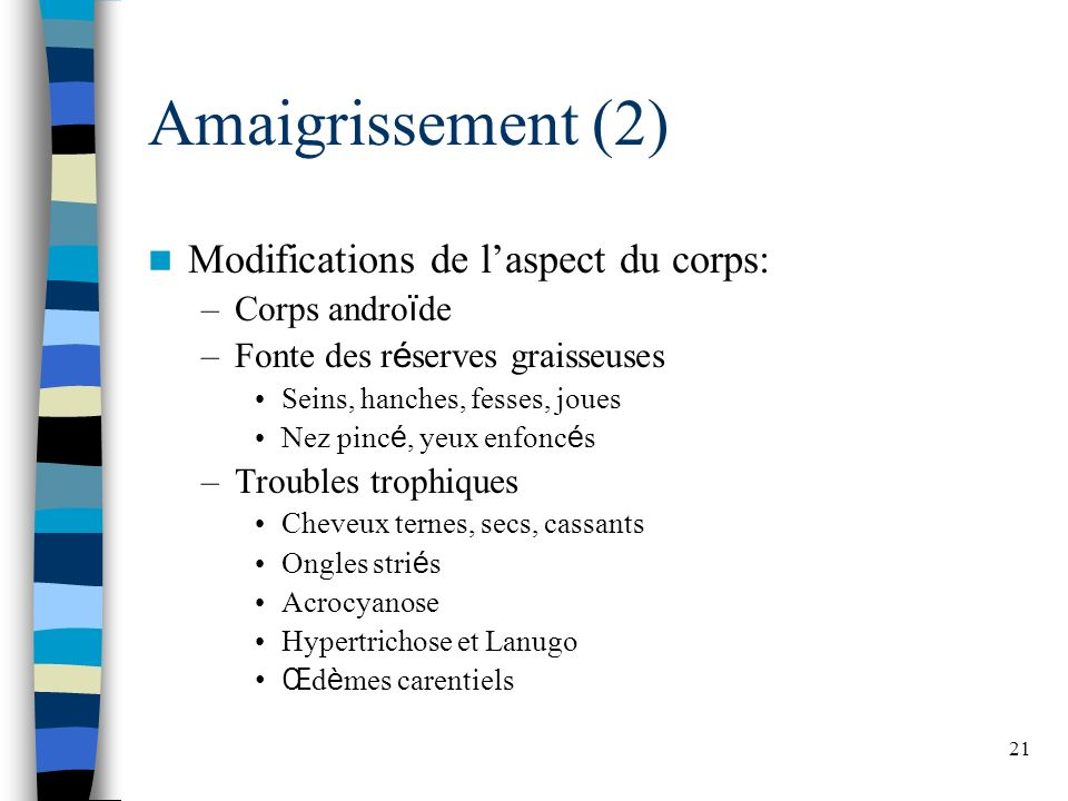 Amaigrissement (2) Modifications de l'aspect du corps: Corps androïde