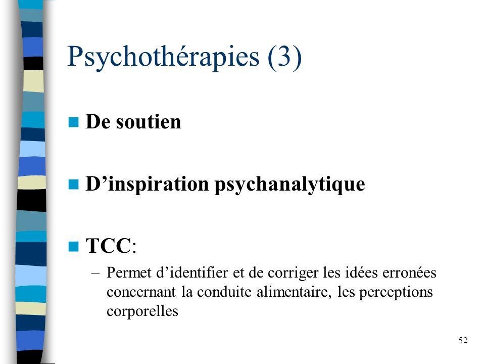 Psychothérapies (3) De soutien D'inspiration psychanalytique TCC: