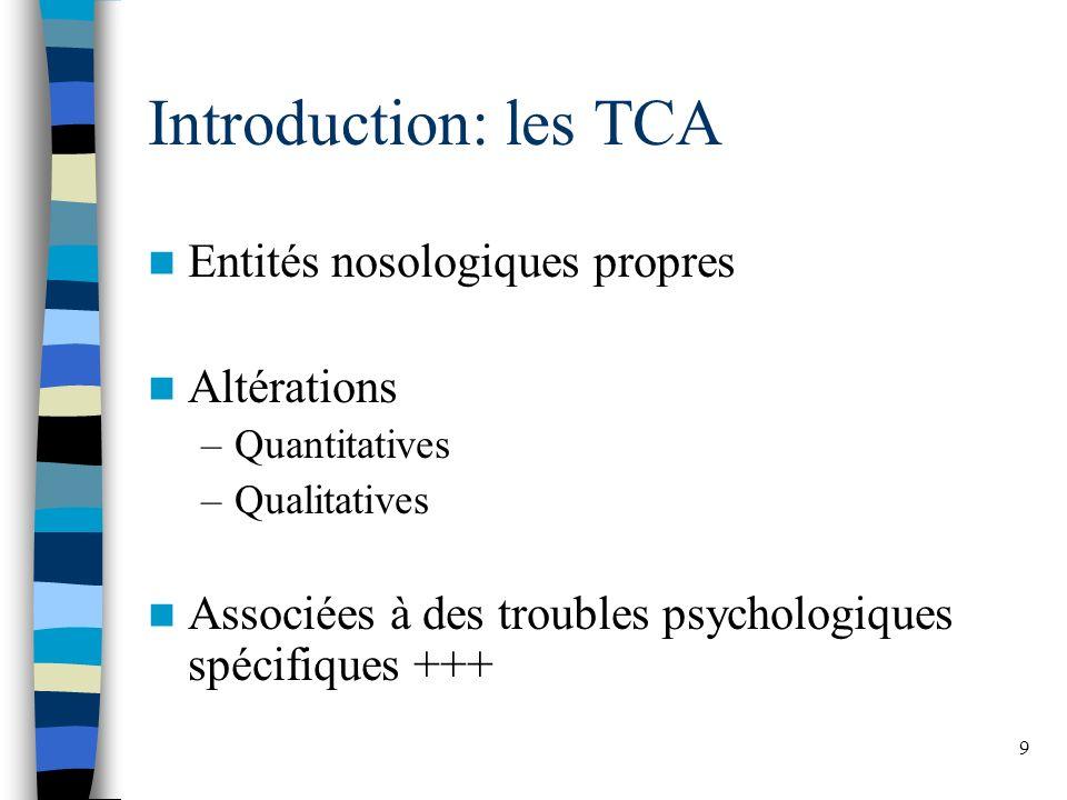 Introduction: les TCA Entités nosologiques propres Altérations