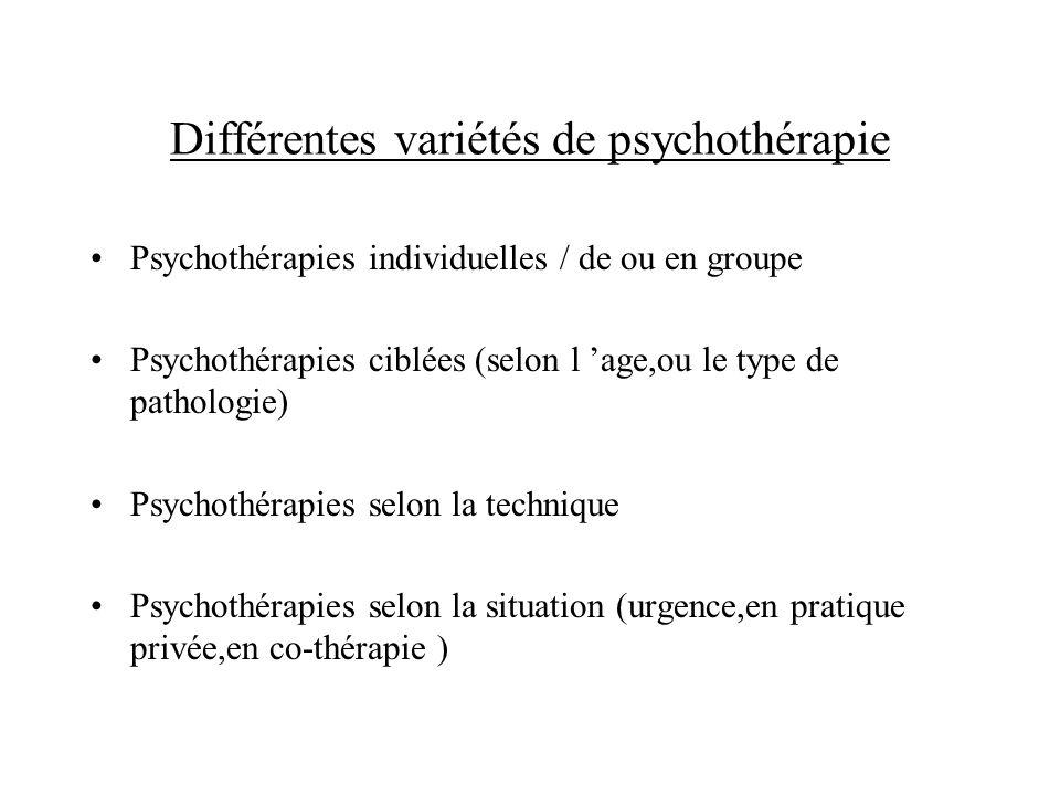 Différentes variétés de psychothérapie