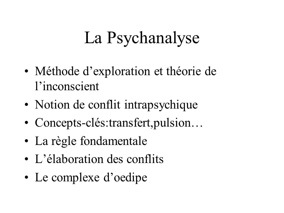 La Psychanalyse Méthode d'exploration et théorie de l'inconscient