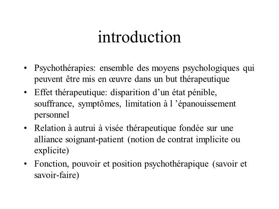 introduction Psychothérapies: ensemble des moyens psychologiques qui peuvent être mis en œuvre dans un but thérapeutique.