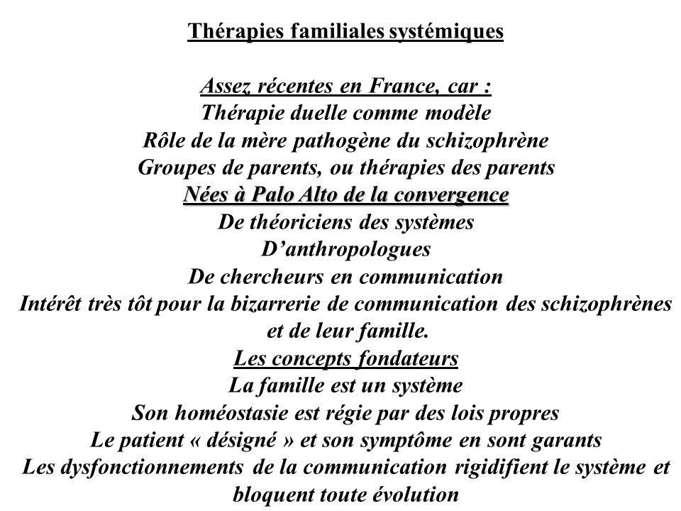 Thérapies familiales systémiques Assez récentes en France, car :