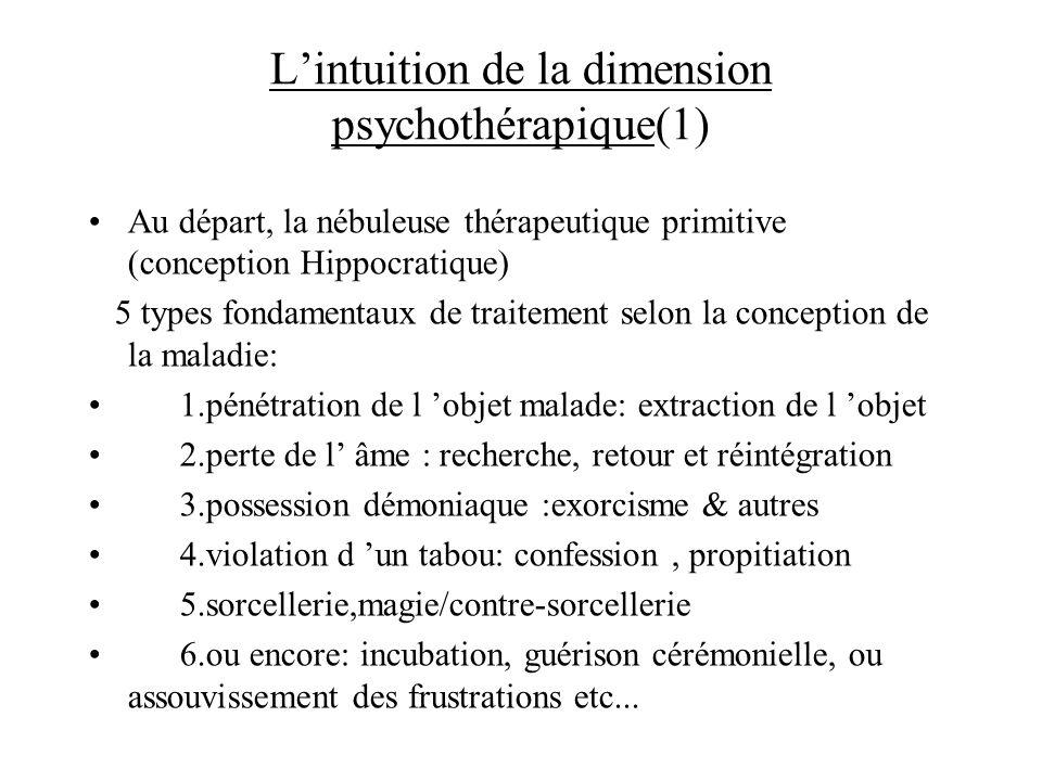 L'intuition de la dimension psychothérapique(1)