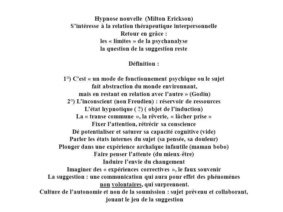 Hypnose nouvelle (Milton Erickson)