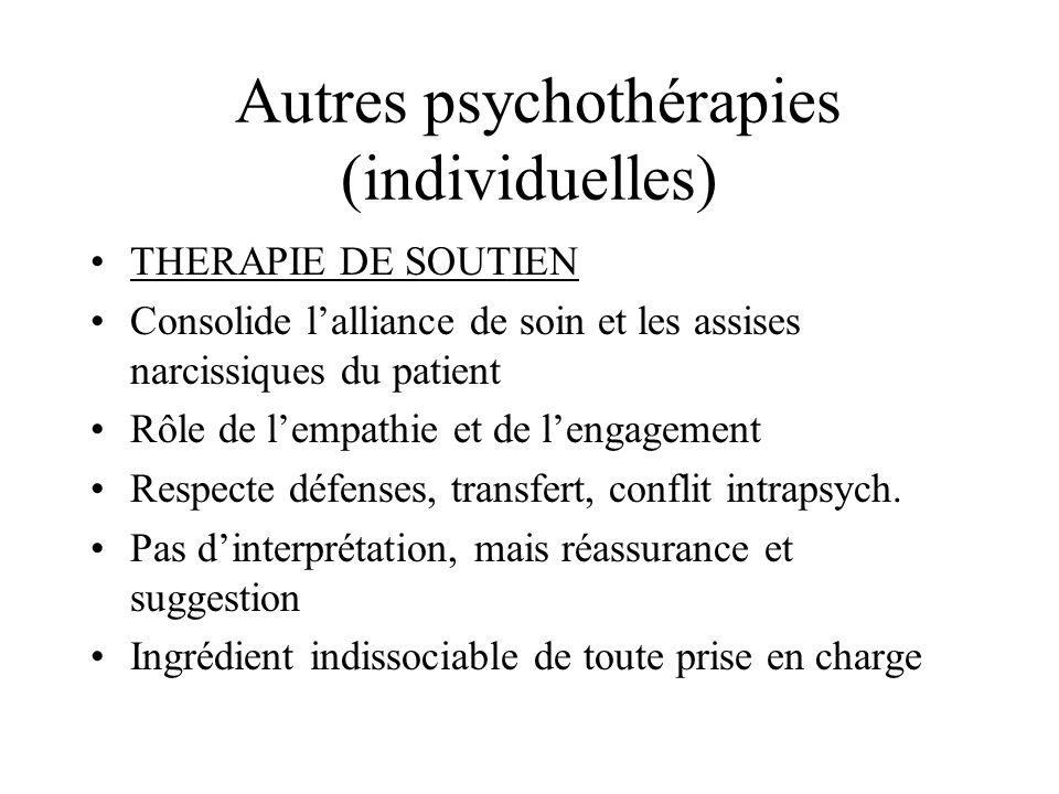 Autres psychothérapies (individuelles)