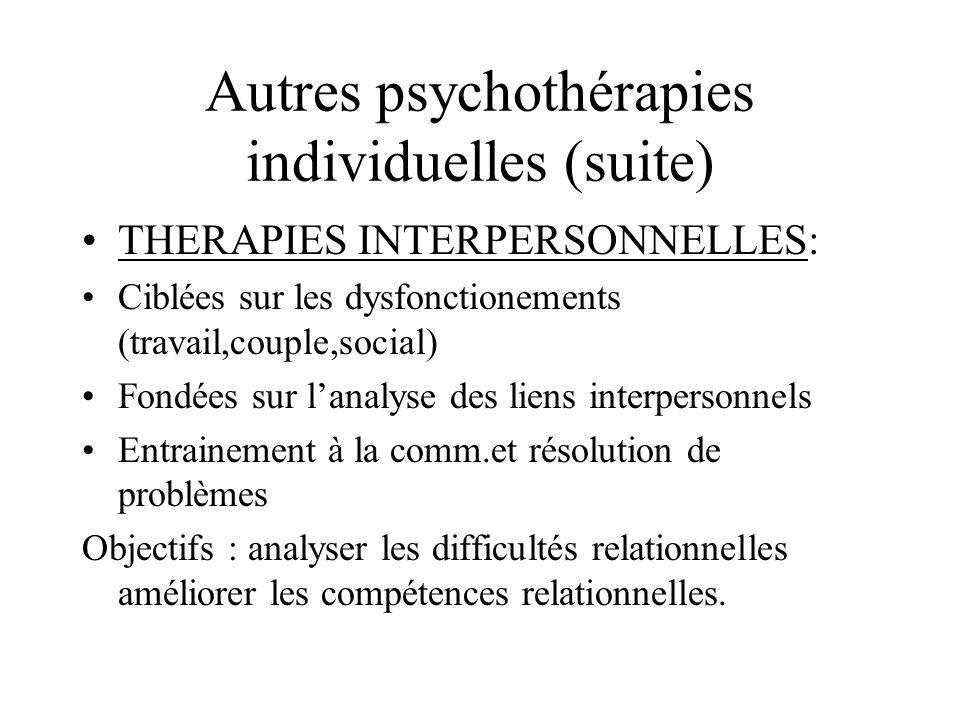 Autres psychothérapies individuelles (suite)