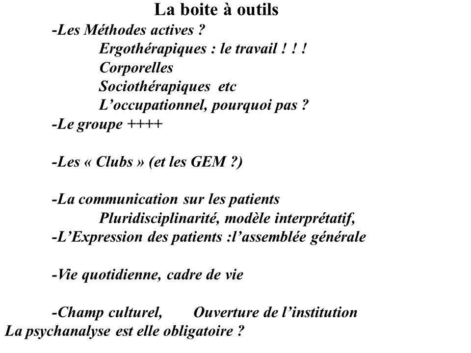La boite à outils -Les Méthodes actives Ergothérapiques : le travail ! ! ! Corporelles. Sociothérapiques etc.