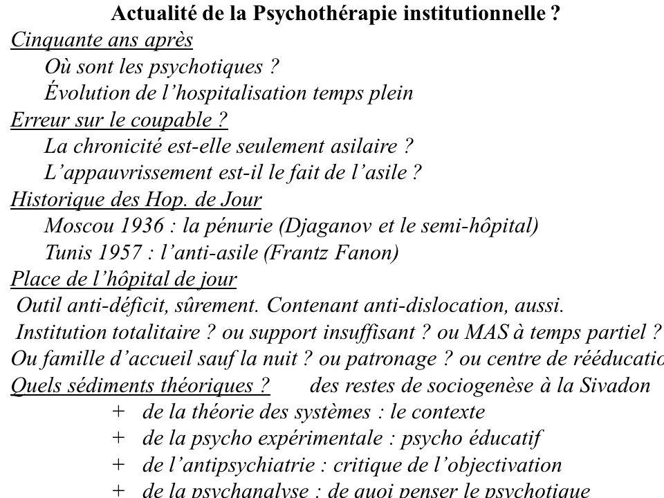 Où sont les psychotiques Évolution de l'hospitalisation temps plein