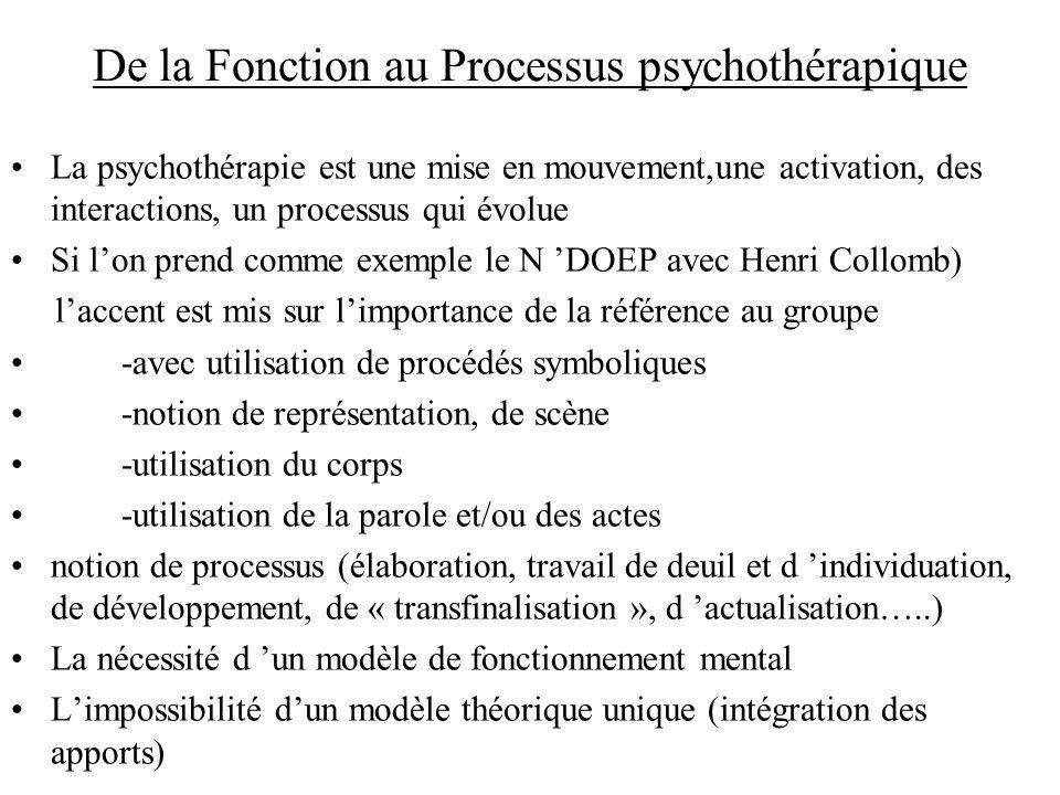 De la Fonction au Processus psychothérapique