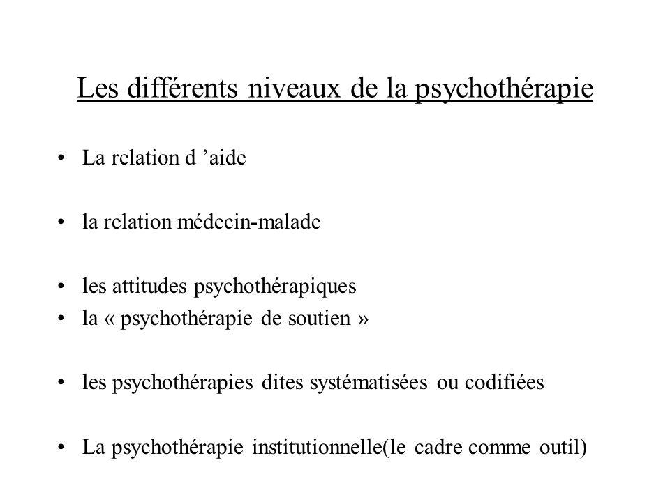 Les différents niveaux de la psychothérapie