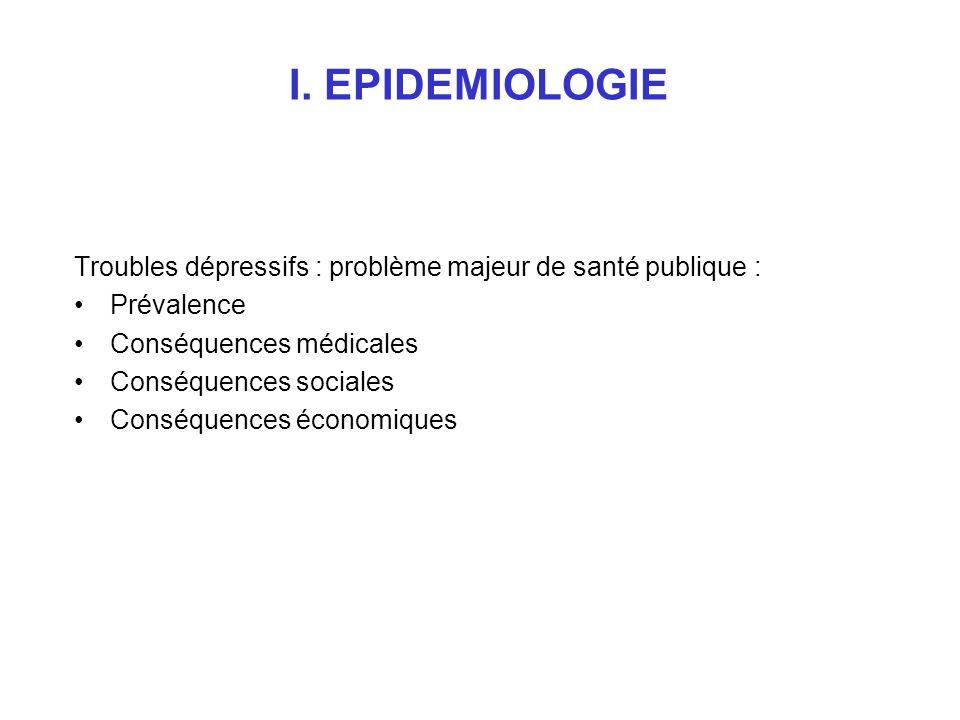 I. EPIDEMIOLOGIE Troubles dépressifs : problème majeur de santé publique : Prévalence. Conséquences médicales.