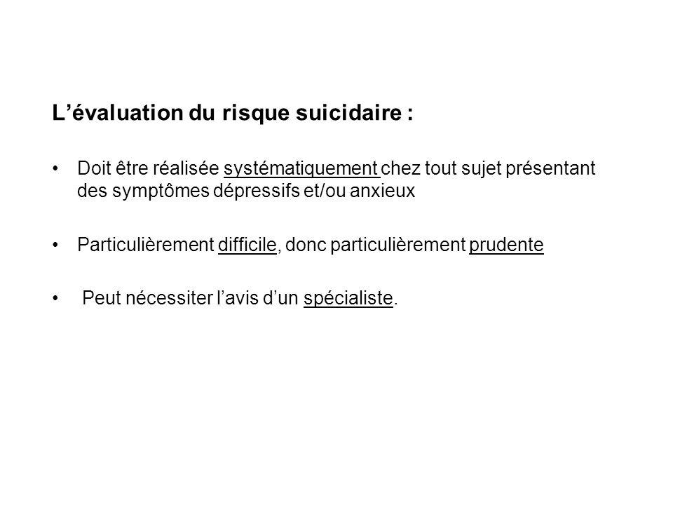 L'évaluation du risque suicidaire :