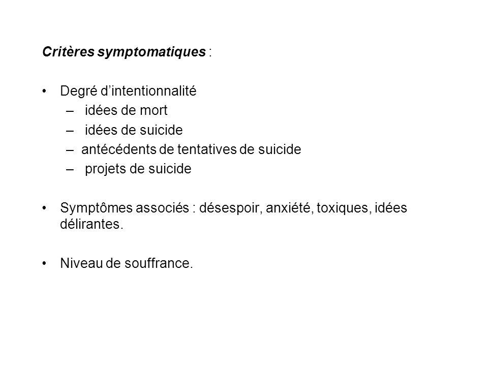 Critères symptomatiques :