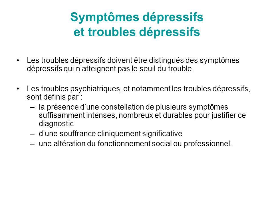 Symptômes dépressifs et troubles dépressifs