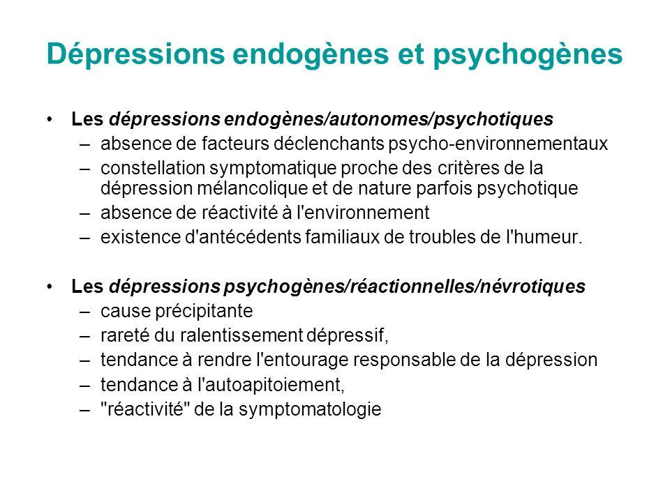 Dépressions endogènes et psychogènes