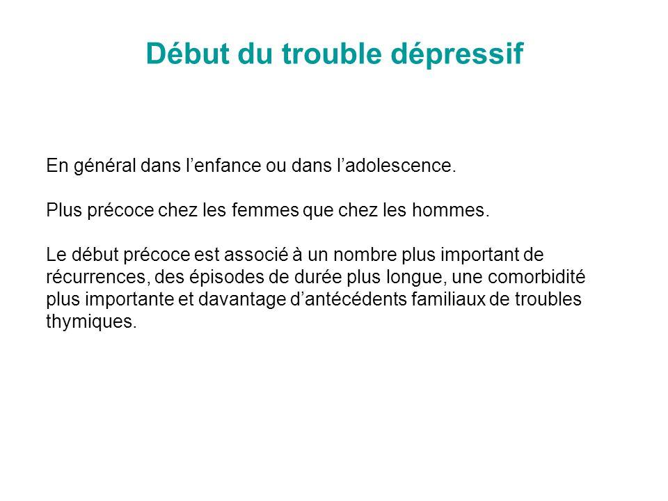 Début du trouble dépressif