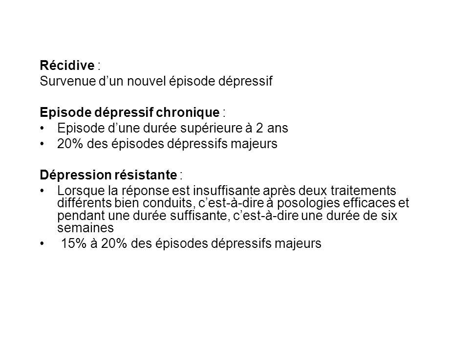 Récidive : Survenue d'un nouvel épisode dépressif. Episode dépressif chronique : Episode d'une durée supérieure à 2 ans.