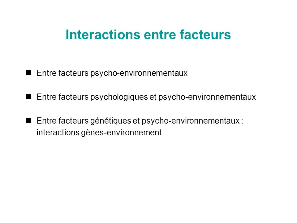 Interactions entre facteurs