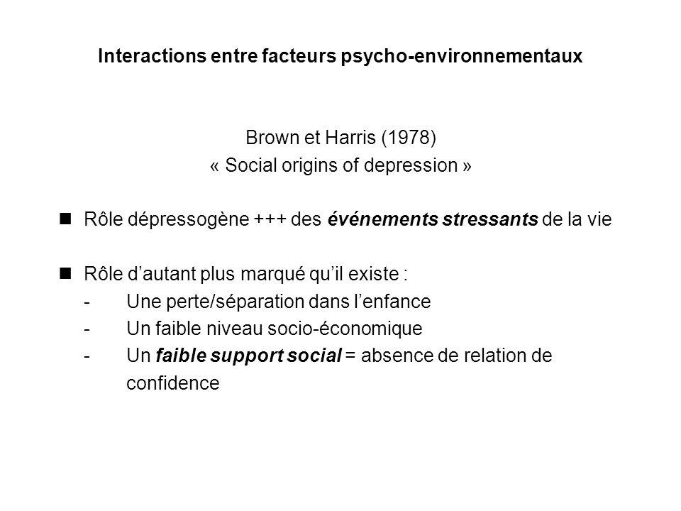 Interactions entre facteurs psycho-environnementaux