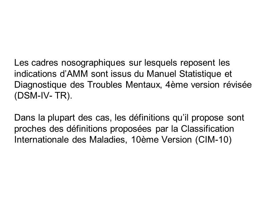 Les cadres nosographiques sur lesquels reposent les indications d'AMM sont issus du Manuel Statistique et Diagnostique des Troubles Mentaux, 4ème version révisée (DSM-IV- TR).