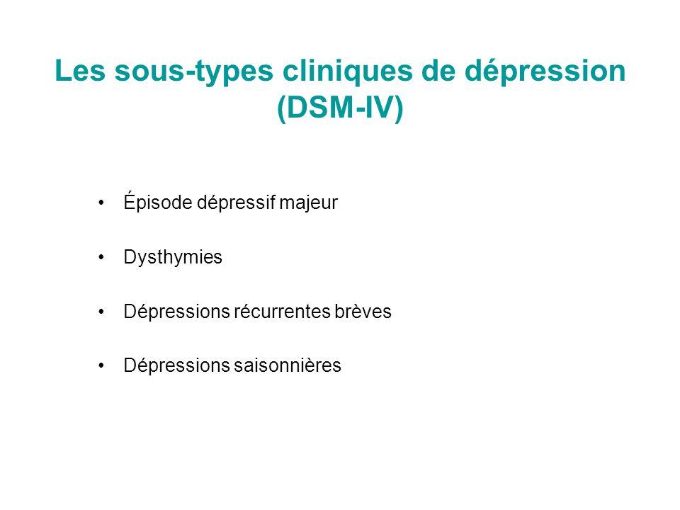 Les sous-types cliniques de dépression (DSM-IV)