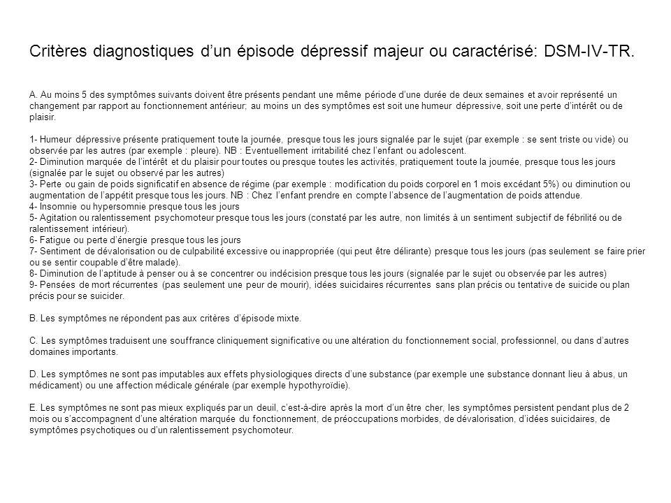 Critères diagnostiques d'un épisode dépressif majeur ou caractérisé: DSM-IV-TR.
