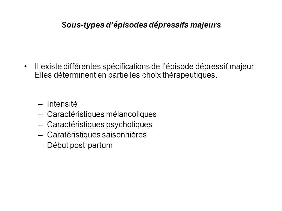Sous-types d'épisodes dépressifs majeurs