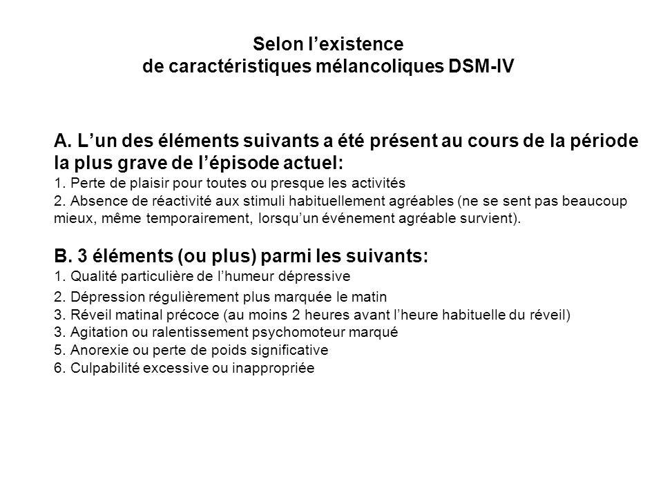 Selon l'existence de caractéristiques mélancoliques DSM-IV