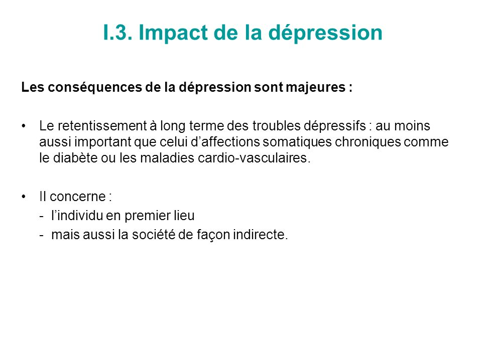 I.3. Impact de la dépression