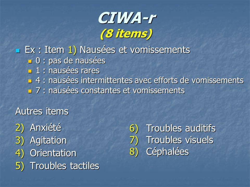 CIWA-r (8 items) Ex : Item 1) Nausées et vomissements Autres items