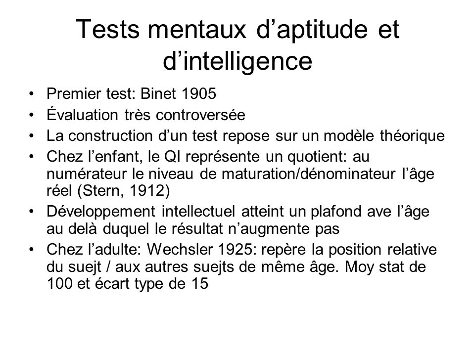 Tests mentaux d'aptitude et d'intelligence
